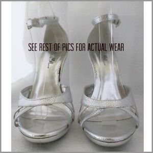 👰USED WILD ROSE WOMEN'S SILVER HEELS 9.5 FIRM$👰